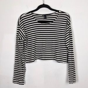 Forever 21 Striped Crop Top Oversized